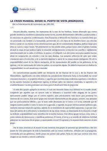 1 LA CRISIS MUNDIAL DESDE EL PUNTO DE VISTA JERÁRQUICO.