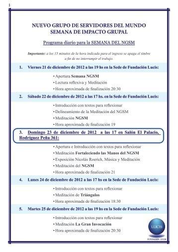NUEVO GRUPO DE SERVIDORES DEL MUNDO ... - Fundación Lucis