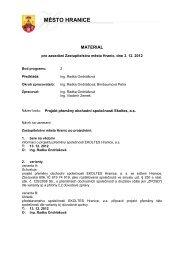 Projekt přeměny obchodní společnosti Ekoltes, a.s. - Město Hranice