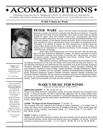 WARE'S MUSIC FOR WINDS - Classical Composer Peter Ware
