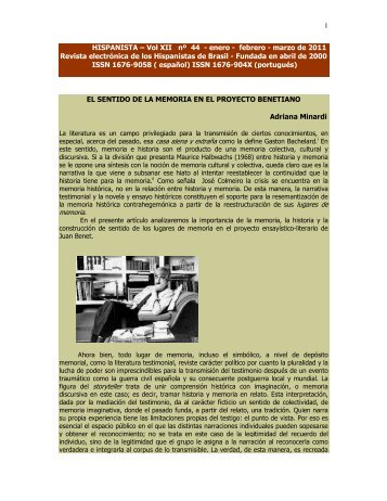 1 HISPANISTA – Vol XII nº 44 - enero - febrero - marzo de 2011 ...