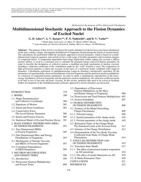 Multidimensional Stochastic Approach to the Fission ... - Nrv Jinr