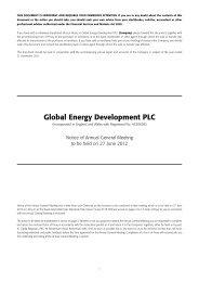 Global Energy Development PLC