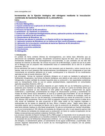 Incrementos de la fijación biológica del nitrógeno mediante la ...