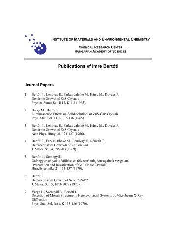 Publications of Imre Bertóti - MTA Kémiai Kutatóközpont