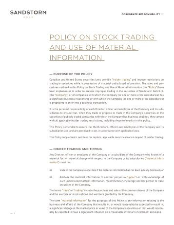 Policy On Stock Trading and Use of Material Information