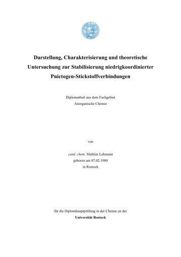 Darstellung, Charakterisierung und theoretische Untersuchung zur ...