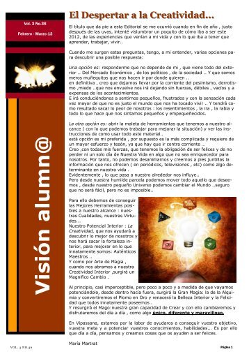 Visión nº 36 Febrero - Marzo 12 - Vipassana
