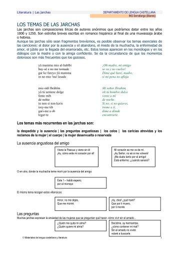 LOS TEMAS DE LAS JARCHAS - Materiales de Lengua y Literatura