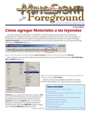 Cómo agregar Materiales a las leyendas - Mintec, Inc.
