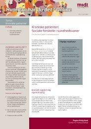 Kroniske patienter - CFK Folkesundhed og Kvalitetsudvikling