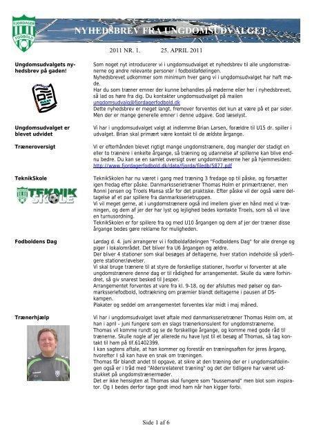 nyhedsbrev fra ungdomsudvalget - KlubCMS - DBU