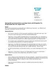 Spørgsmål og kommentarer om Køge Kysts udviklingsplan fra ...