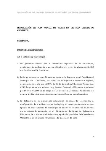 MODIFICACIÓN DEL PLAN PARCIAL DEL SECTOR R10 DEL ...