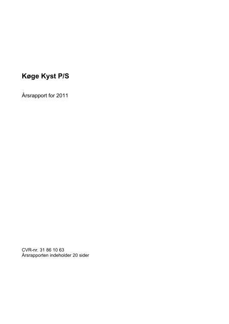 Årsrapporten kan downloades her - Køge Kyst