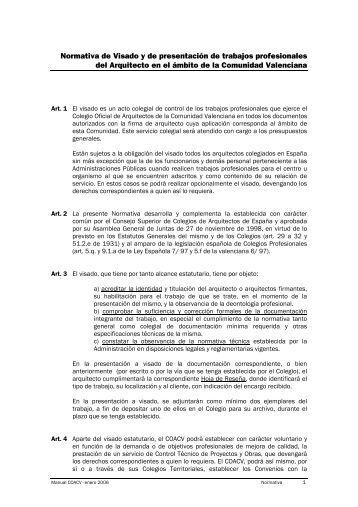 Normativa de Visado y de presentación de trabajos profesionales ...