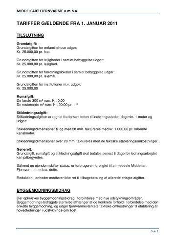 tariffer gældende fra 1. januar 2011 - Middelfart Fjernvarme