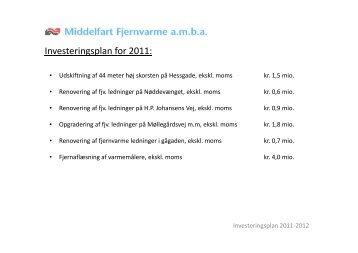 Investeringsplan for 2011: - Middelfart Fjernvarme