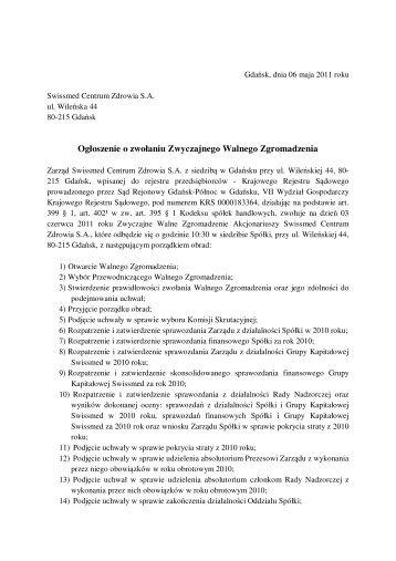 Ogłoszenie o zwołaniu ZWZ na 03.06.2011r. - Swissmed