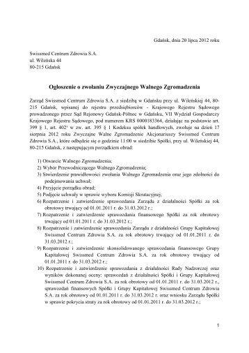 Ogłoszenie o zwołaniu ZWZ Swissmed Centrum Zdrowia SA na ...
