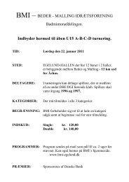 Indbyder hermed til åben U15 ABCD turnering. TID - Beder-Malling ...