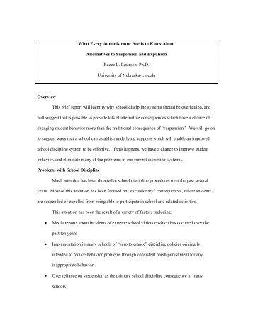 Alternatives to Suspension and Expulsion