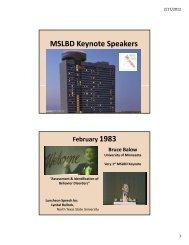 Keynote Speakers & Debates - MSLBD
