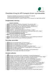 Checkliste til brug for APV transport af korn- og foderstoffer