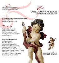Official Program 2008 (Short) - Ohrid Choir Festival