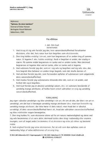 Hvad er matematik? C, i-bog 1 Fra »Ethica« I. del ... - L&R Uddannelse