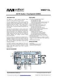 Data Sheet - Wolfson Microelectronics plc