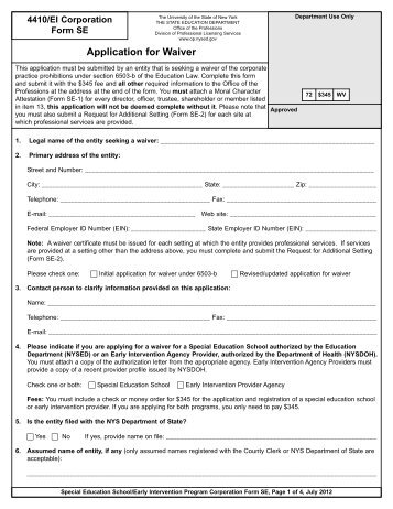 Application For Waiver   Office Of The Professions   New York State .