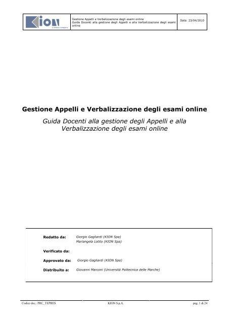 Unicz Calendario Esami.Gestione Appelli E Verbalizzazione Degli Esami Online Guida