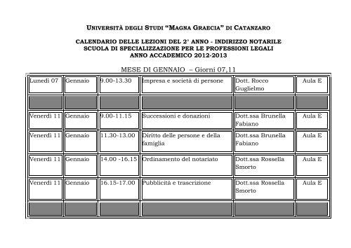Calendario Lezioni Unicz.19 12 2012 Calendario Lezioni Mese Gennaio Ii Anno Ind