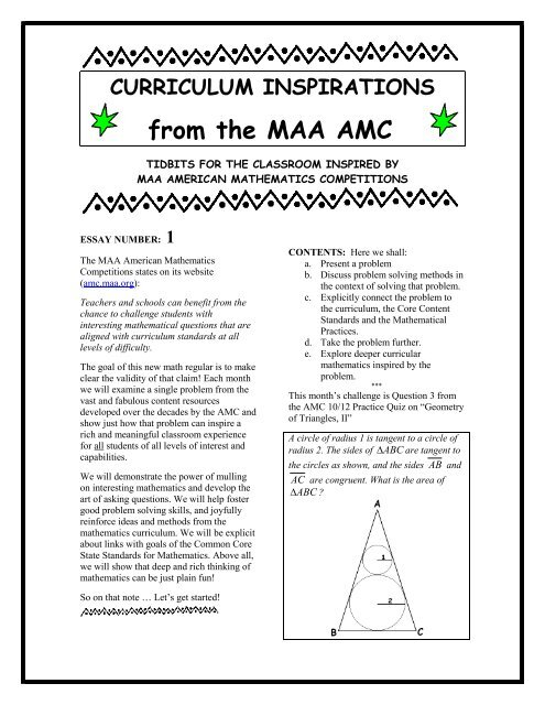 from the MAA AMC - Thinking Mathematics!