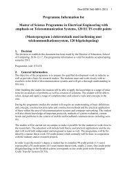 Programme Information for - Blekinge Tekniska Högskola