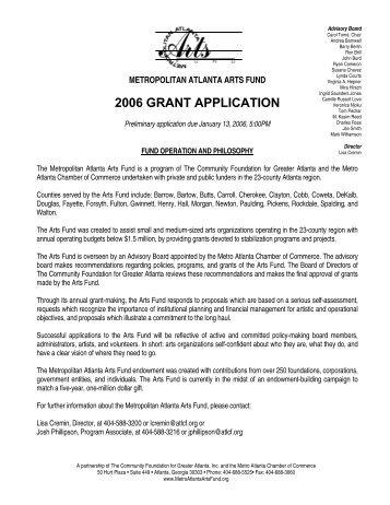 2006 GRANT APPLICATION - Metropolitan Atlanta Arts Fund