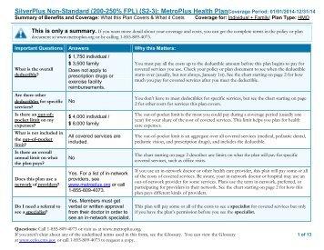 SilverPlus Non-Standard (200-250% FPL) (S2-3): MetroPlus Health ...