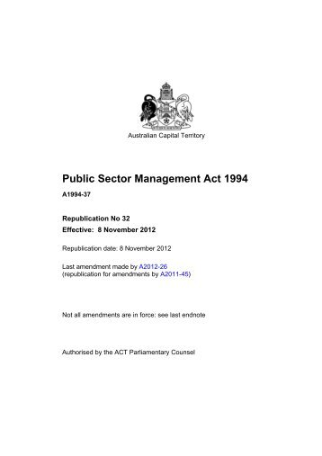 Public Sector Management Act 1994 - ACT Legislation Register