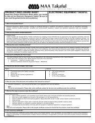 product disclosure sheet electronic equipment takaful - MAA