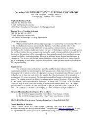 cultural psychology - The College of Social & Behavioral Sciences