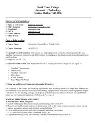 South Texas College Automotive Technology Section Outline/Fall ...
