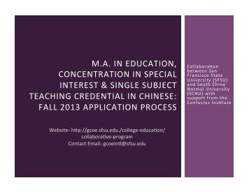 presentation slides - College of Education - San Francisco State ...