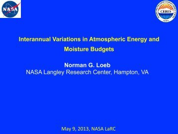 Interannual Variations in Atmospheric Energy and ... - ceres - NASA