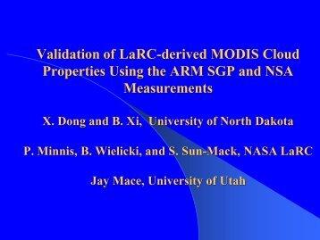 Validation of LaRC-derived MODIS Cloud Properties ... - ceres - NASA