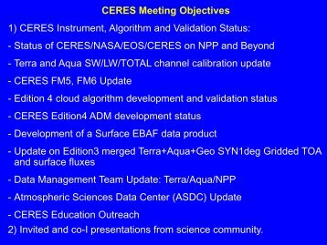 State of CERES/NASA/EOS/CERES on NPP and Beyond