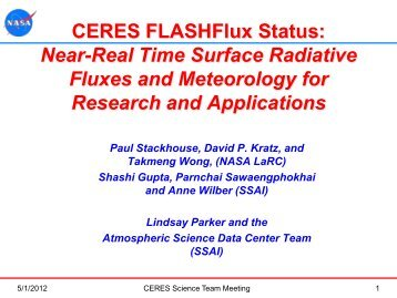NASA Near-Real Time Surface Fluxes and Applications - CERES