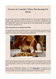 Factors to Consider When Purchasing Pet Meals