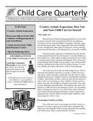 Summer 2009 Newsletter.pdf - Child Care Resource Center