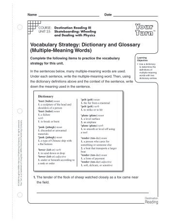 Dictionary and Glossary (Multiple-Meaning Words) - Houghton ...